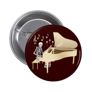 Skeleton Pianist Pinback Button