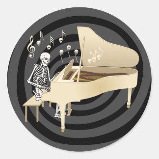 Skeleton Pianist Round Sticker