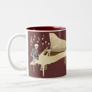 Skeleton Pianist Two-Tone Coffee Mug