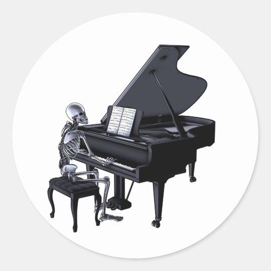 Skeleton Piano Player Classic Round Sticker
