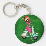 Skeleton Pin Up Girl on Scooter Keychains