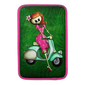 Skeleton Pin Up Girl on Scooter MacBook Air Sleeve
