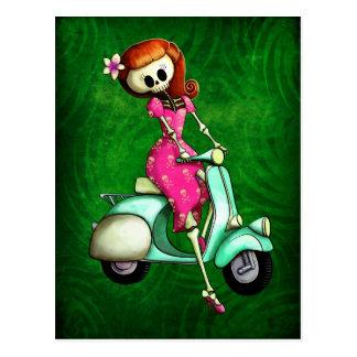 Skeleton Pin Up Girl on Scooter Postcard