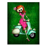 Skeleton Pin Up Girl on Scooter Postcards