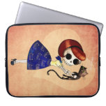 Skeleton Pin up Girl with her Cat Laptop Computer Sleeves