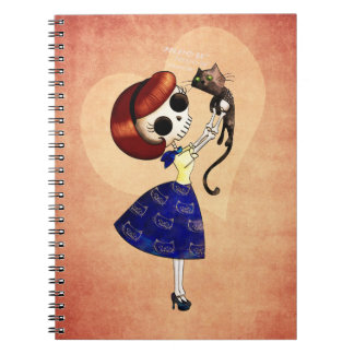 Skeleton Pin up Girl with her Cat Notebooks