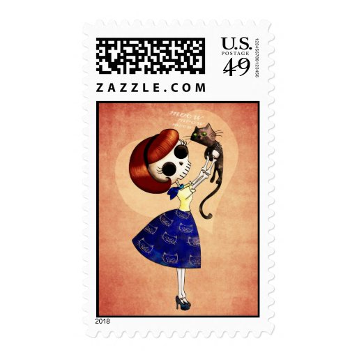 Skeleton Pin up Girl with her Cat Postage Stamps