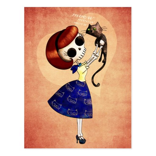 Skeleton Pin up Girl with her Cat Postcards