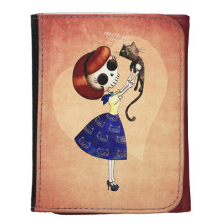 Skeleton Pin up Girl with her Cat Wallets