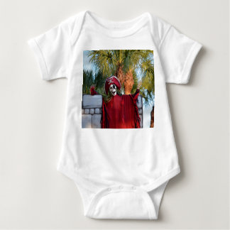 skeleton pirate red outfit buccaneer skull funny baby bodysuit
