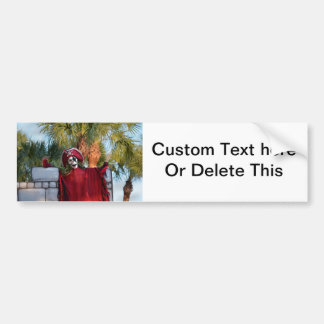 skeleton pirate red outfit buccaneer skull funny bumper sticker