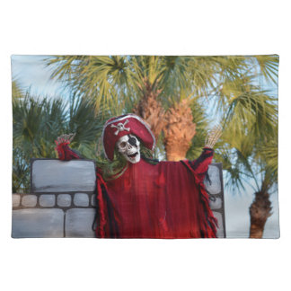 skeleton pirate red outfit buccaneer skull funny cloth placemat