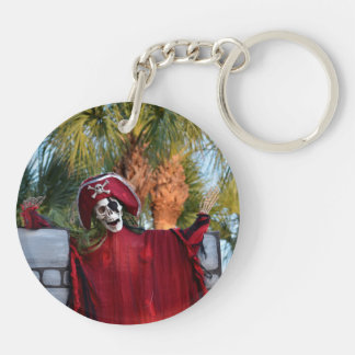 skeleton pirate red outfit buccaneer skull funny Double-Sided round acrylic keychain