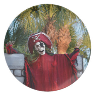skeleton pirate red outfit buccaneer skull funny plate