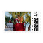 skeleton pirate red outfit buccaneer skull funny postage