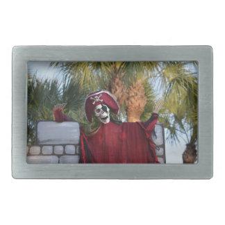 skeleton pirate red outfit buccaneer skull funny rectangular belt buckle