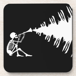 Skeleton Playing a Horn Making Music Drink Coaster