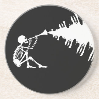 Skeleton Playing a Horn Making Music Sandstone Coaster
