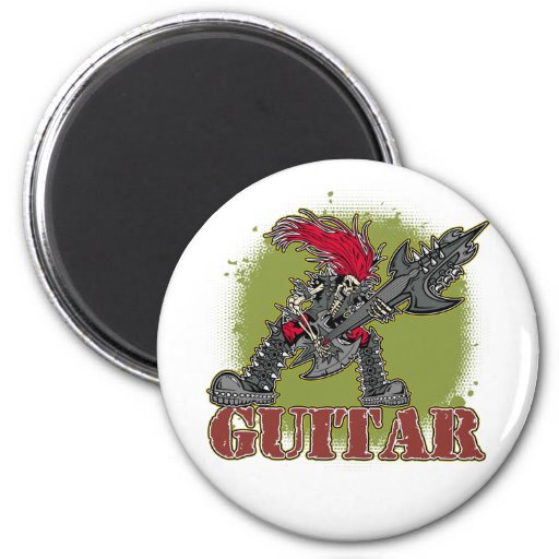 Skeleton Playing Electric Guitar 2 Inch Round Magnet