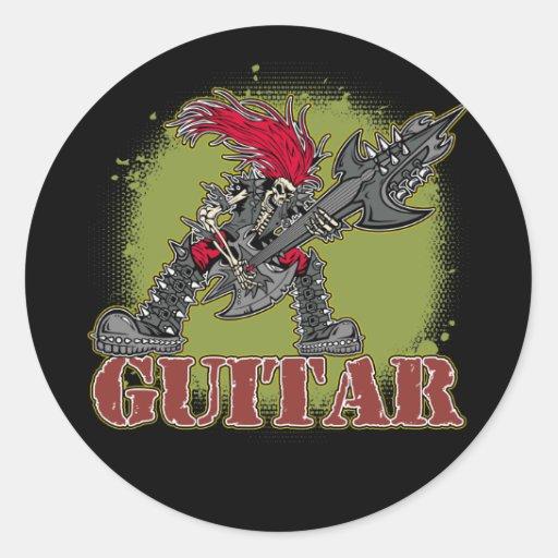 Skeleton Playing Electric Guitar Round Sticker