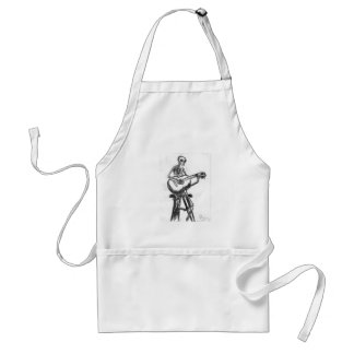 Skeleton Playing Guitar Charcoal Drawing Adult Apron