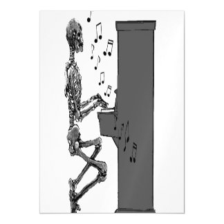 Skeleton Playing Piano Funny Musical Art Magnetic Card