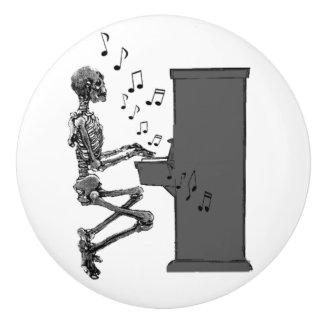 Skeleton Playing Piano Music Funny Ceramic Knob