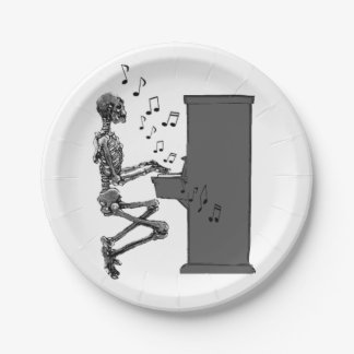 Skeleton Playing Piano Music Funny Paper Plate