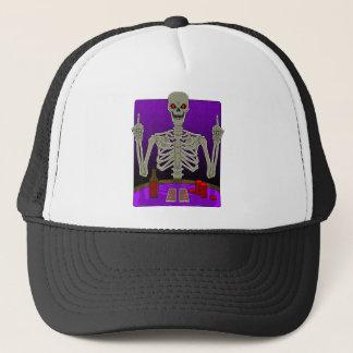 Skeleton Poker Flip Trucker Hat