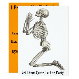 Skeleton Praying Halloween Invitation