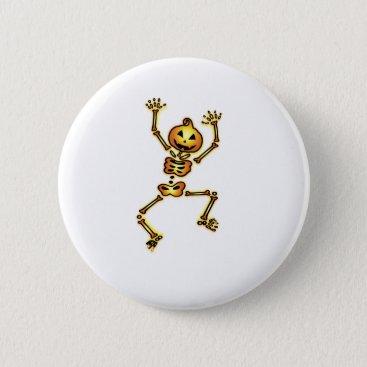 Halloween Themed Skeleton Pumpkin Halloween Funny Gift Pinback Button