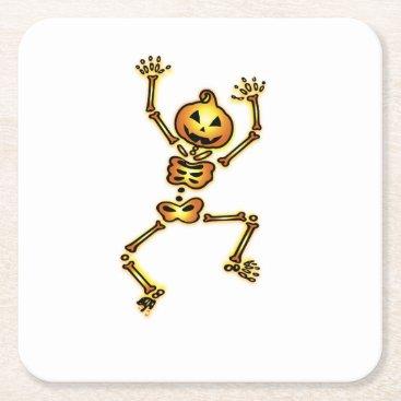 Halloween Themed Skeleton Pumpkin Halloween Funny Gift Square Paper Coaster
