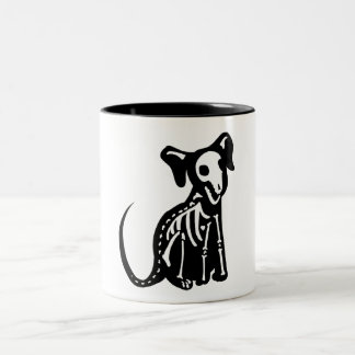 Skeleton Pup Two-Tone Coffee Mug