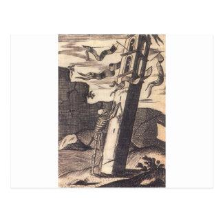 Skeleton Pushing over Tower circa 1792 Postcard