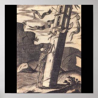 Skeleton Pushing over Tower circa 1792 Poster