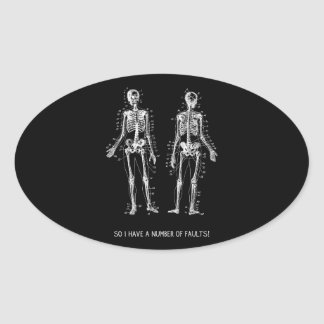 Skeleton Questions for Halloween Oval Sticker