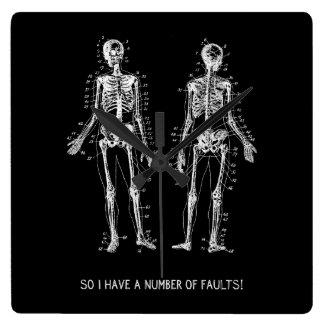 Skeleton Questions for Halloween Square Wallclocks