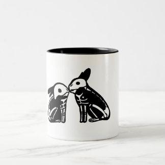 Skeleton Rabbits - Kissing Two-Tone Coffee Mug