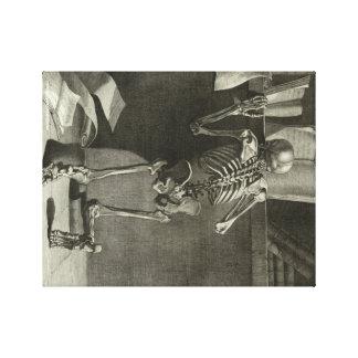 Skeleton Reading Canvas Print