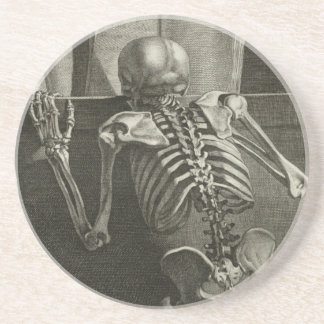 Skeleton Reading Sandstone Coaster