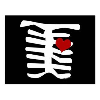 Skeleton Red Heart Postcard
