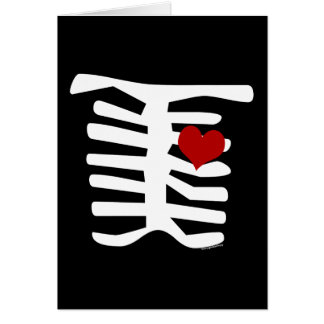 Skeleton Red Heart Stationery Note Card