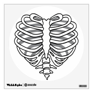 Skeleton rib cage heart wall sticker