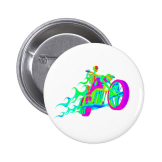 Skeleton Riding a Motorcycle 2 Inch Round Button
