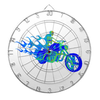Skeleton Riding a Motorcycle Dartboard With Darts