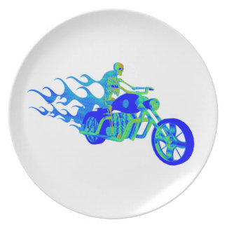 Skeleton Riding a Motorcycle Dinner Plate