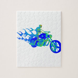 Skeleton Riding a Motorcycle Jigsaw Puzzle