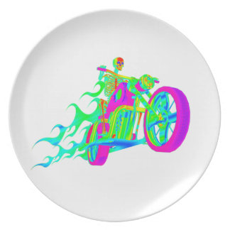 Skeleton Riding a Motorcycle Melamine Plate
