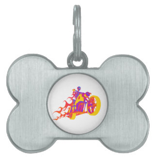 Skeleton Riding a Motorcycle Pet Tags