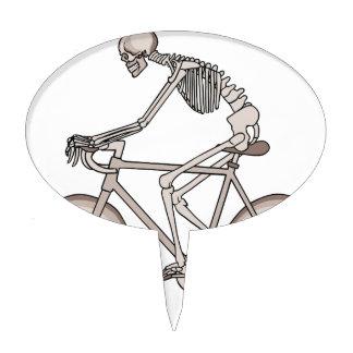 Skeleton Riding Bike With Skull Wheels Cake Topper